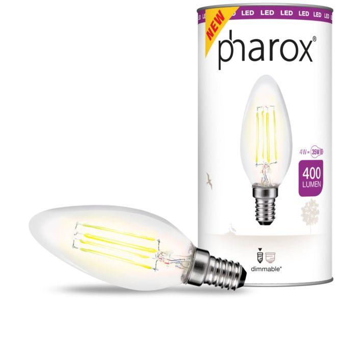 Lampă-cu-lumânări-LED-Pharox-transparentă-E14-4W-400-lumeni
