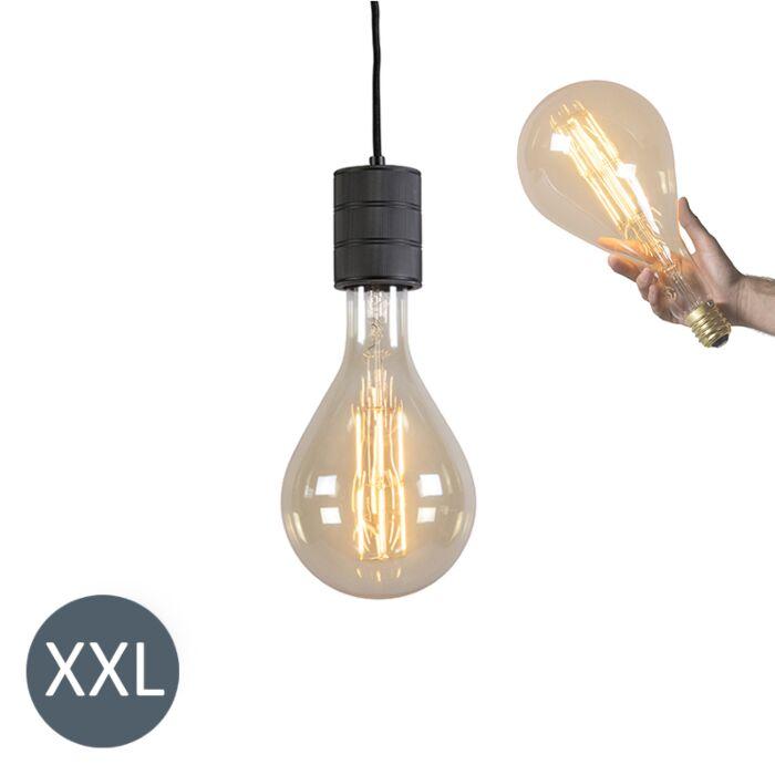 Lampă-suspendată-Negru-strălucitor-cu-lampă-LED-reglabilă