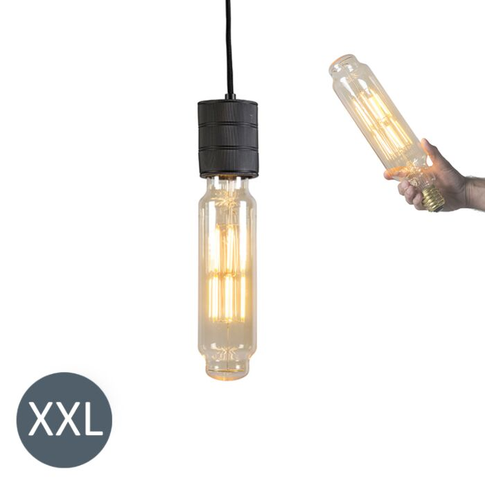 Lampă-suspendată-Tower-negru-cu-lampă-LED-reglabilă