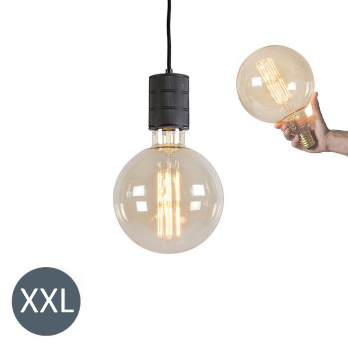 Lampă-suspendată-Megaglobe-neagră-cu-lampă-LED-reglabilă