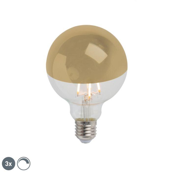 Set-de-3-oglindă-cu-LED-E27,-reglabilă,-G95-aur-280lm-2300K