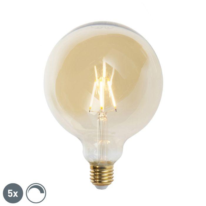 Set-de-5-lămpi-cu-filament-cu-LED-E27-reglabile-G125-goldline-2200K