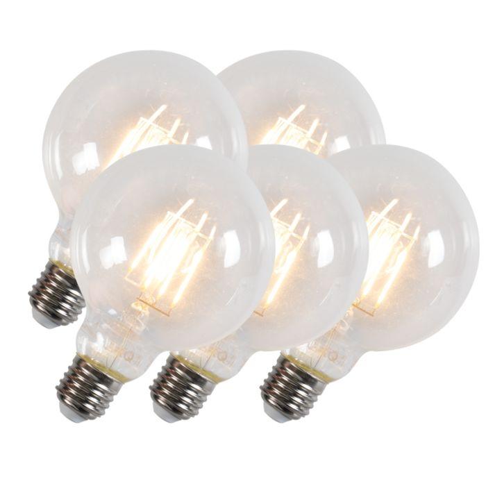 Set-de-5-lămpi-cu-filament-Led-G95-E27-6W-600-lumeni