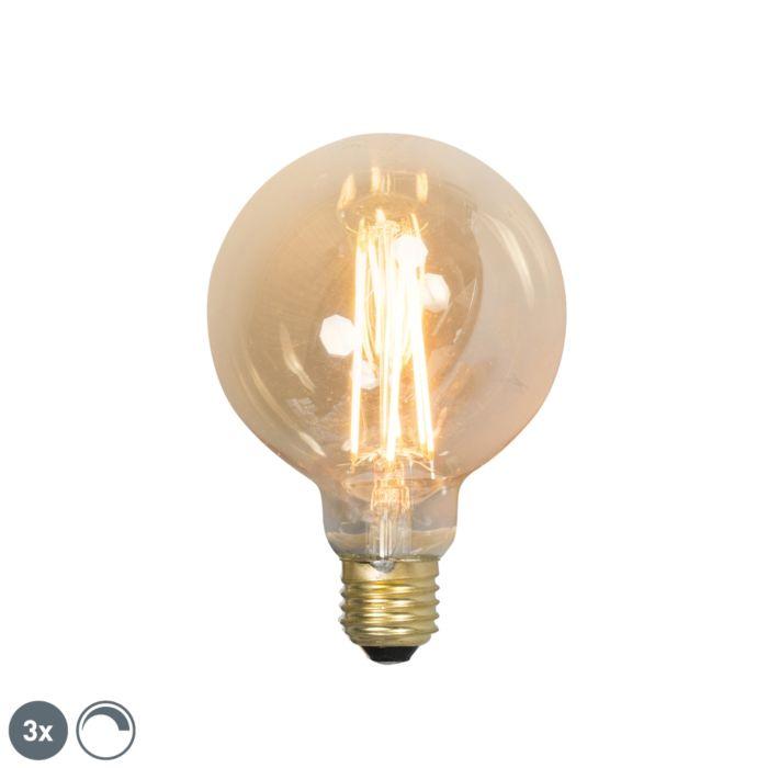 Set-de-3-lămpi-cu-filament-cu-LED-E27-reglabile-G95-goldline-2100K