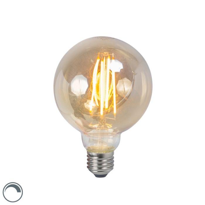 Lampă-cu-incandescență-LED-E27-5W-2200K-G95-reglabilă-în-fum