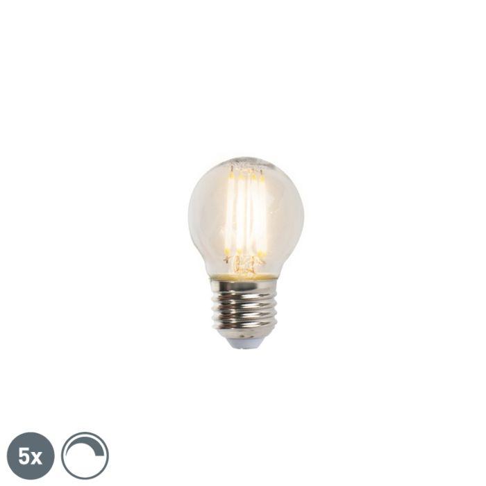 Set-de-5-lămpi-cu-bilă-cu-filament-cu-LED-E27-5W-470lm-2700K