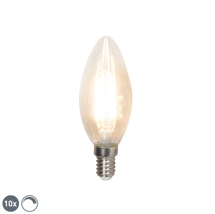 Set-de-10-lămpi-cu-lumânare-cu-filament-E14-240V-3.5W-350lm-B35-reglabil