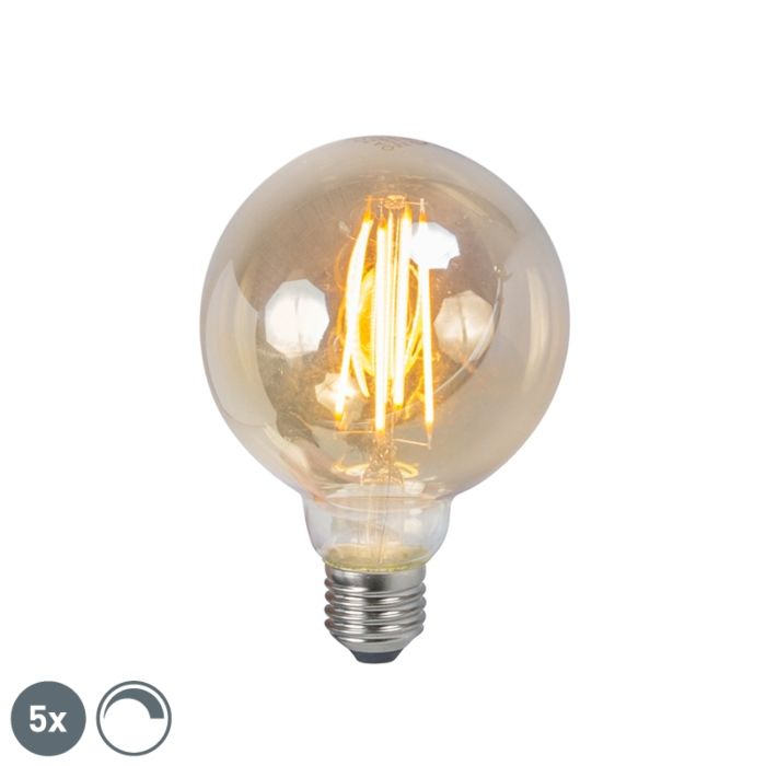 Set-de-5-lămpi-de-fum-cu-filament-cu-LED-E27-reglabile-5W-450lm-2200K