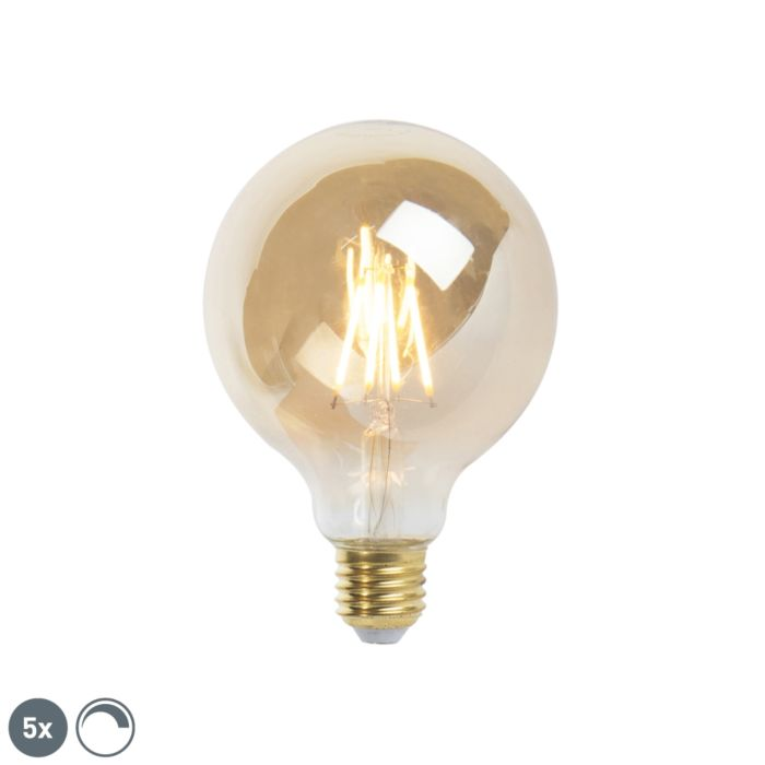 Set-de-5-lămpi-cu-filament-cu-LED-E27-reglabile-9,5-cm-5W-360-lumeni-2200K