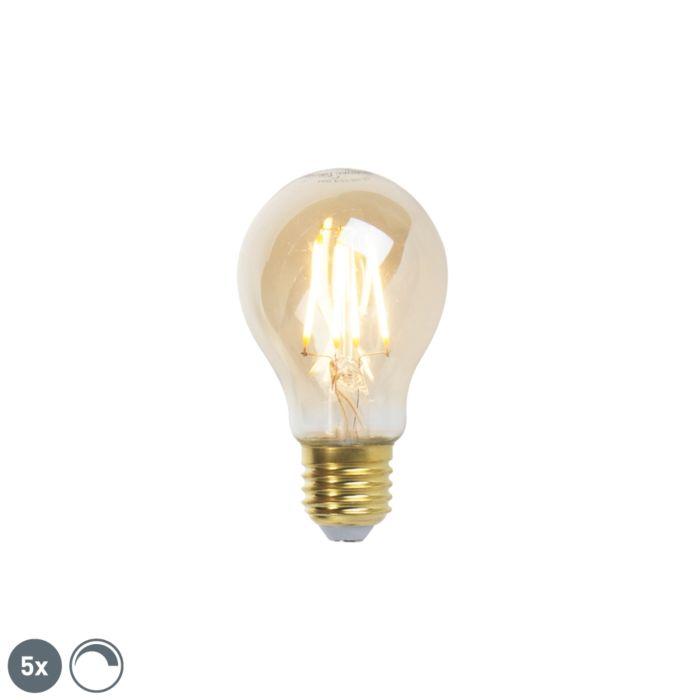 Set-de-5-lămpi-cu-filament-cu-LED-E27-reglabile-goldline-360lm-2200K