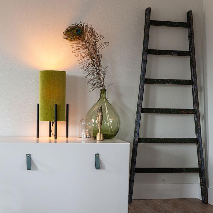 Lampă-de-masă-design-nuanță-de-catifea-neagră-verde-cu-auriu---Bogat