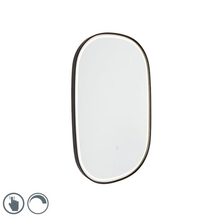 Oglindă-de-baie-neagră,-cu-LED-cu-dimmer-tactil-oval---Miral