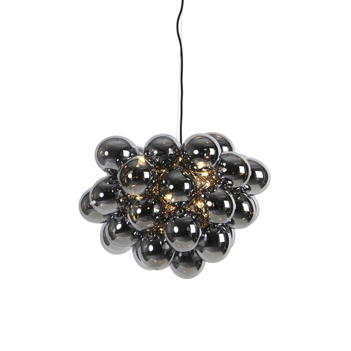 Lampă-suspendată-design-negru-cu-sticlă-fumurie-cu-8-lumini---Uvas