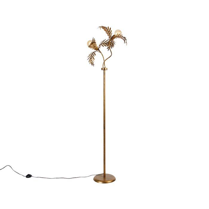 Lampă-de-podea-vintage-aurie-cu-2-lumini---Botanica