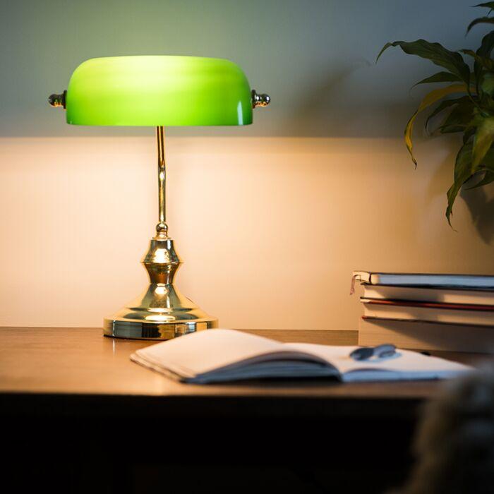 Lampă-clasică-de-masă-/-lampă-notară-din-alamă-cu-sticlă-verde---Banker
