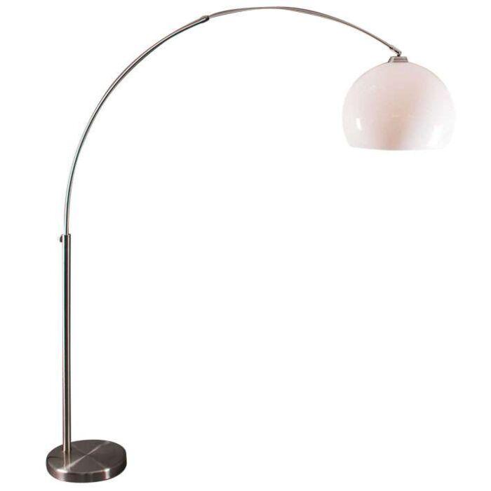 Lampă-arc-din-oțel-cu-abajur-plexi-alb