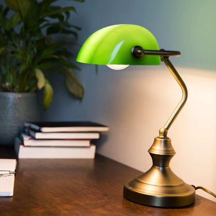 Lampă-clasică-de-masă-/-lampă-notară-bronz-cu-sticlă-verde---Banker