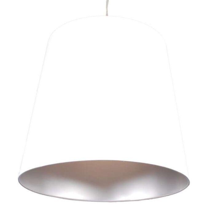 Lampă-suspendată-Abajur-alb-argintiu