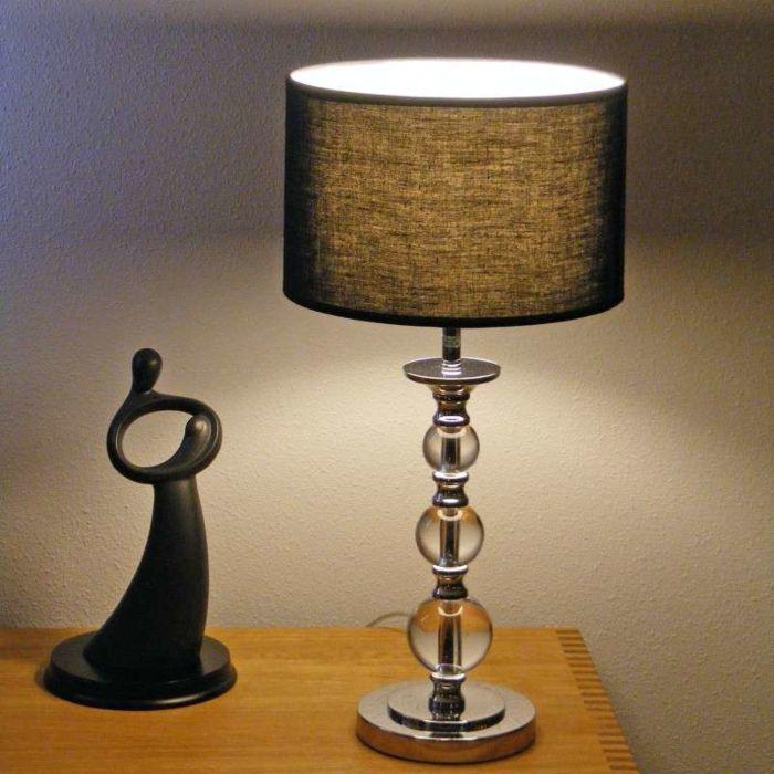Lampă-de-masă-Calabash-crom-cu-umbră-neagră