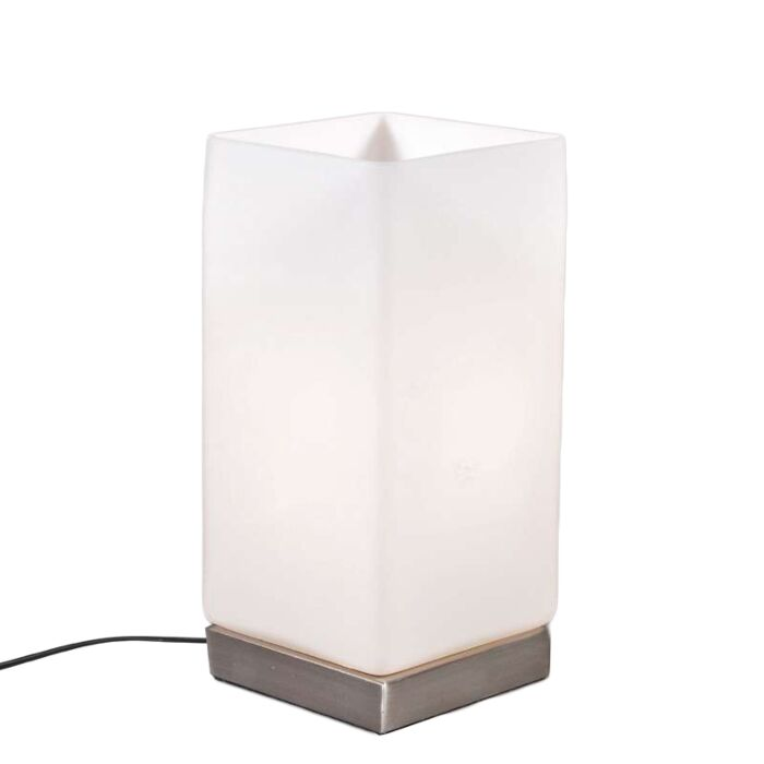 Lampă-de-masă-Baterie-din-oțel-cu-sticlă-albă