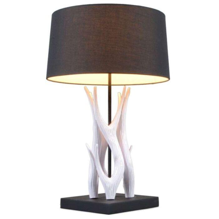 Lampă-de-masă-Yindee-albă-cu-umbră-neagră