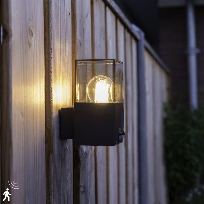 Aplica-de-exterior-gri-închis-cu-detector-de-mișcare-IP44---Danemarca