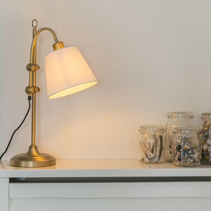 Lampă-de-masă-clasică-bronz-cu-nuanță-albă---Ashley
