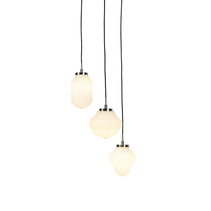 Lampă-rotundă-Art-Deco-din-oțel-cu-sticlă-opală-cu-3-lumini---Bolsena