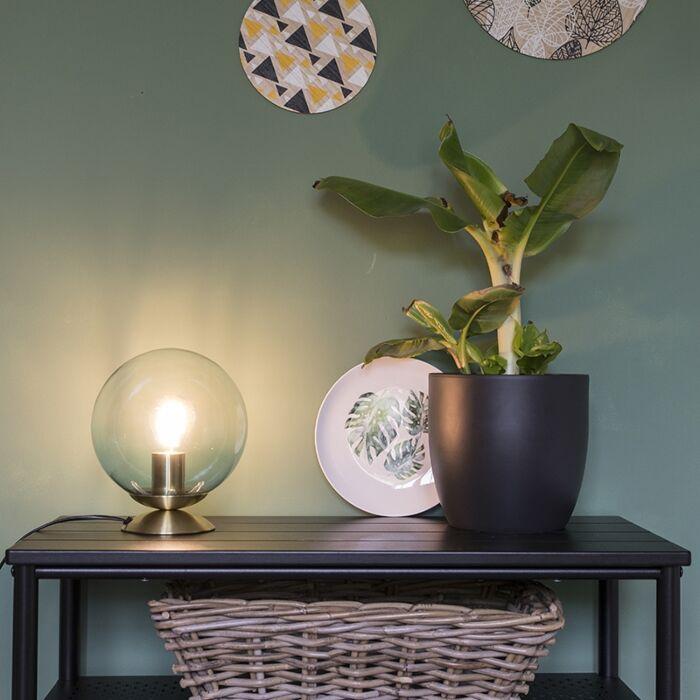 Lampă-de-masă-Art-Deco-din-alamă-cu-sticlă-albastră---Pallon