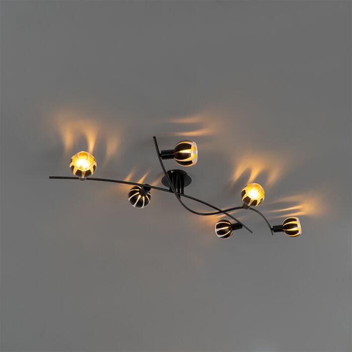 Plafoniera-design-negru-cu-6-lumini-aurii---Melone