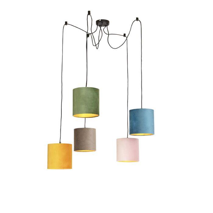 Lampă-suspendată-cu-5-nuanțe-de-catifea-colorate-20-cm---Cava