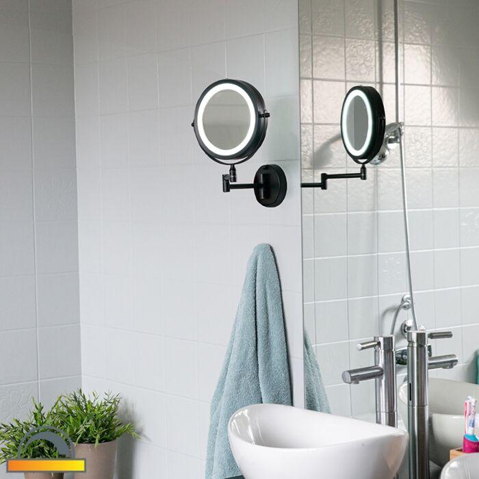 Oglindă-de-design-negru,-cu-LED-reglabil-IP44---Vicino