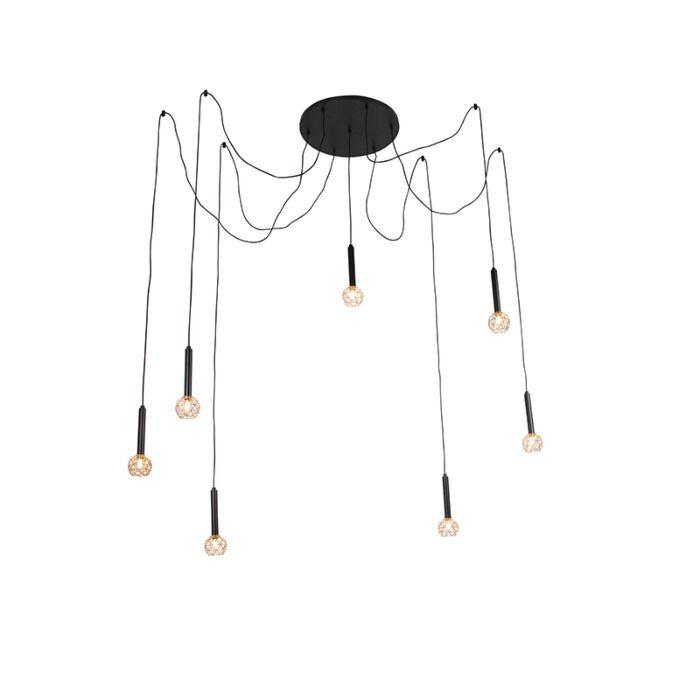 Lampă-suspendată-neagră-cu-7-lumini-de-cupru---Plasă