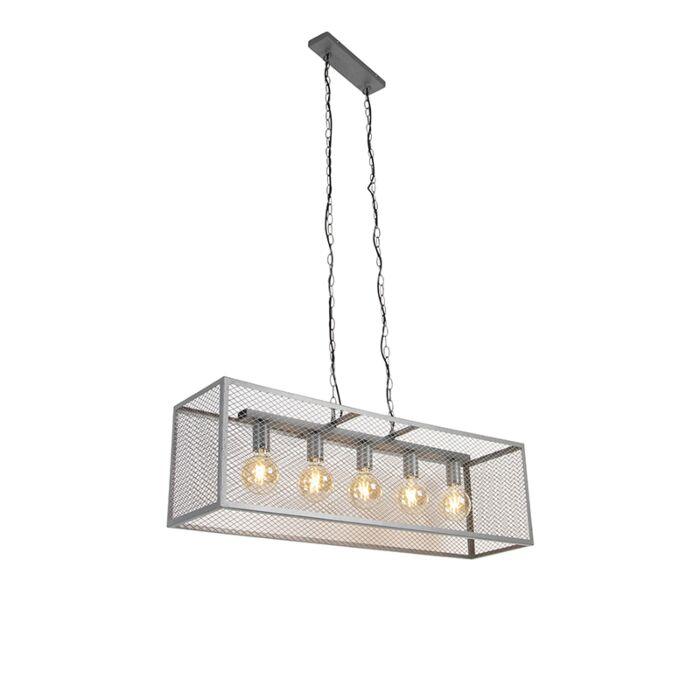 Lampă-suspendată-industrială-de-argint-antic-5-lumini---Cage-Robusto