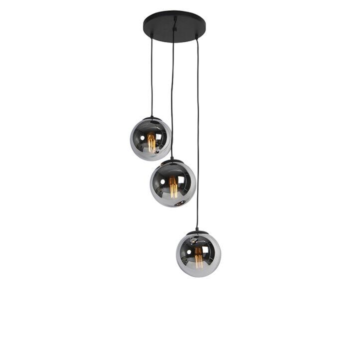 Lampă-suspendată-Art-Deco-neagră-cu-sticlă-fumurie-cu-3-lumini---Pallon