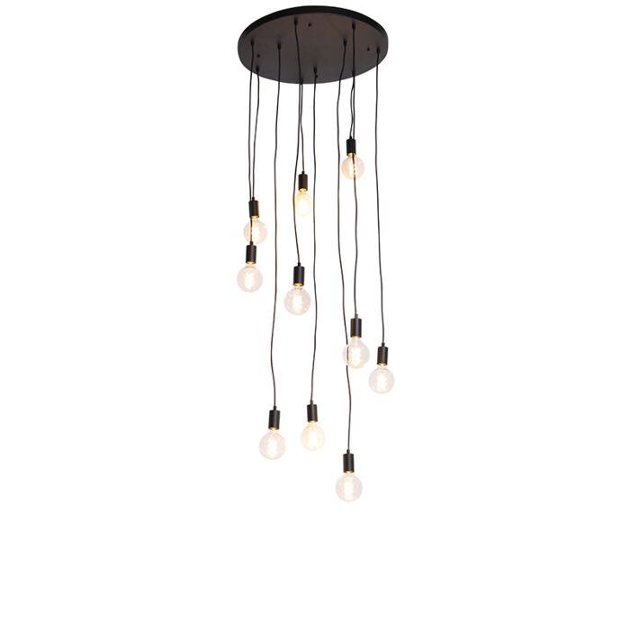Lampă-modernă-suspendată-neagră-60-cm-10-lumini---Facil