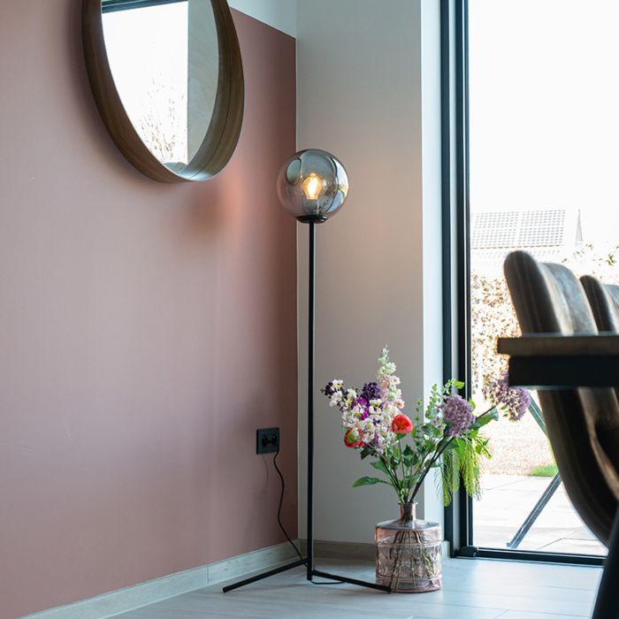 Lampă-de-podea-Art-Deco-neagră-cu-sticlă-fum---Pallon