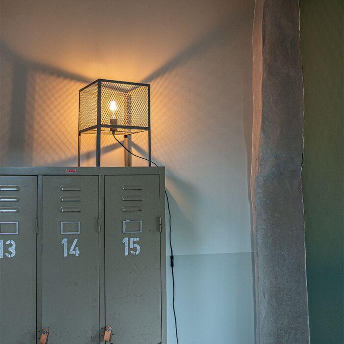 Lampă-de-masă-industrială-argint-antic---Cage-Robusto