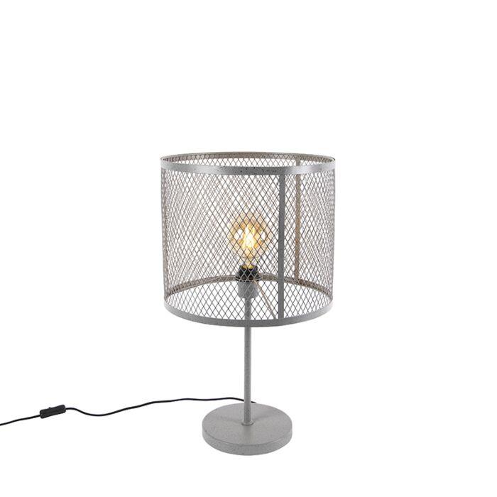 Lampă-industrială-de-masă-rotundă-argint-antic---Cage-Robusto
