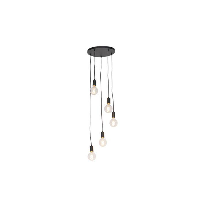 Lampă-modernă-suspendată-neagră-35-cm-cu-5-lumini---Facil