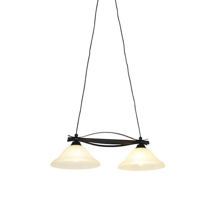 Lampă-suspendată-clasică-maro-cu-sticlă-bej-cu-2-lumini---Pirata