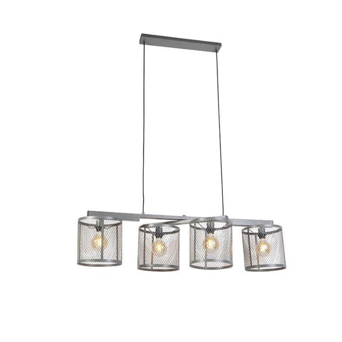 Lampă-suspendată-industrială-argintiu-antic-4-lumini---Cage-Robusto